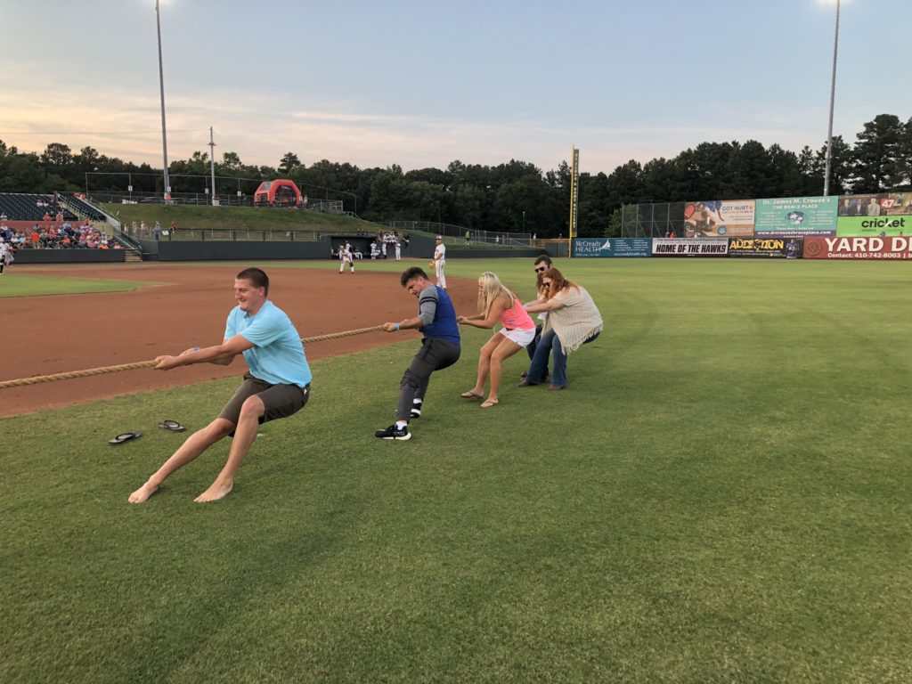 Our Management Trainees fighting for the win in our Intern vs. Trainee Tug-of-War at the Shorebirds Stadium in Salisbury, MD.