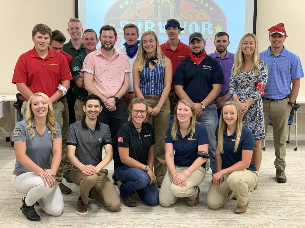 "Our 2019 Interns during Intern Day, where they tested themselves on what they've learned about Mountaire through a ""Survivor"" style game, as well as present their summer project to various departments."