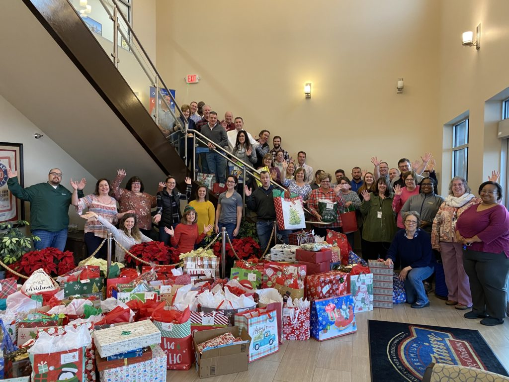 The administration building in Millsboro collected over 100 gifts for area seniors during their annual Adopt a Grandparent program at Christmastime.